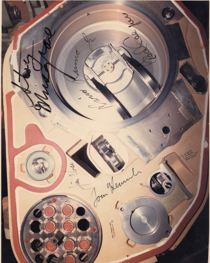 A Space Shuttle 17-inch umbilical valve, external tank hydrogen side. (Signed by the crew of STS-44, 1991). Credit: Edgar Zapata, zapatatalksnasa.com