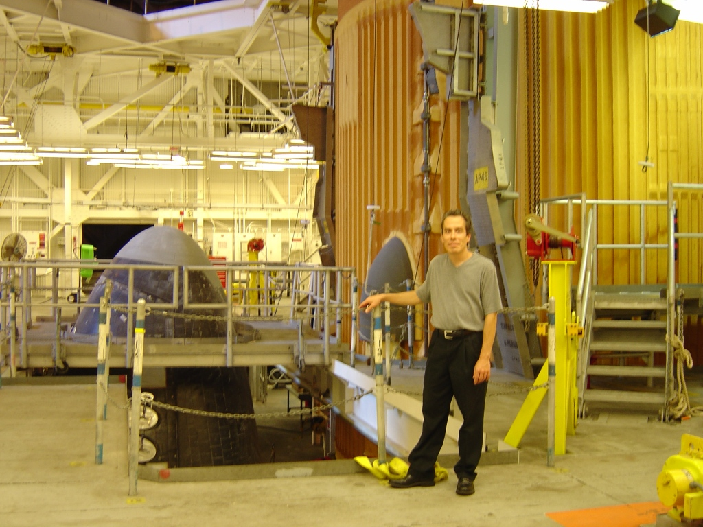 Picture, August 8, 2005, Myself at the Space Shuttle Atlantis in the VAB (which was eventually de-stacked as the order of the flights after the loss of Columbia shifted around).