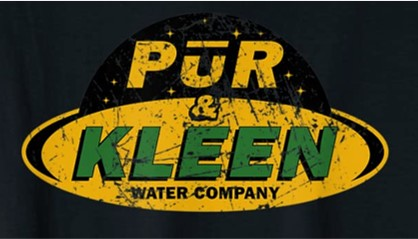 """Logo of the Pur and Kleen Water Company, stylized, pure without the """"e"""" at the end, and """"clean"""" with a """"k"""", from the science fiction TV series The Expanse."""