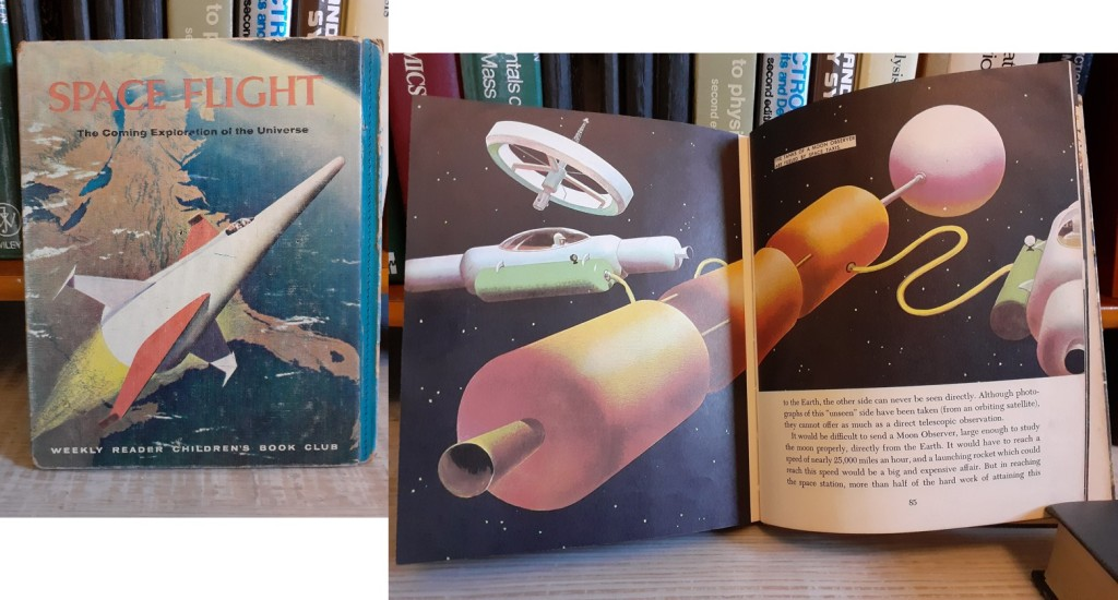 """Pictures of the cover and an open page from """"The Planets"""" and """"Spaceflight"""" from General Mills, 1957."""