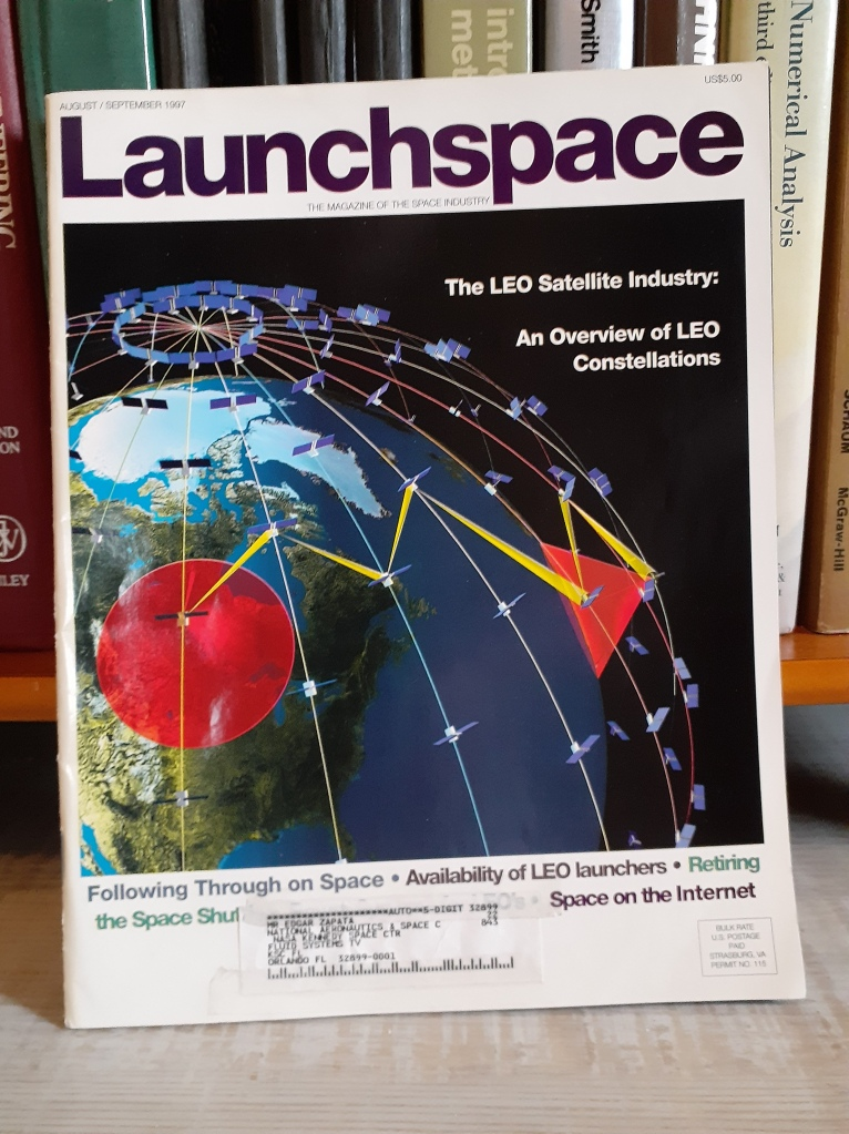 LaunchSpace magazine cover August/September 1997, a heyday for LEO constellations and LEO launchers.