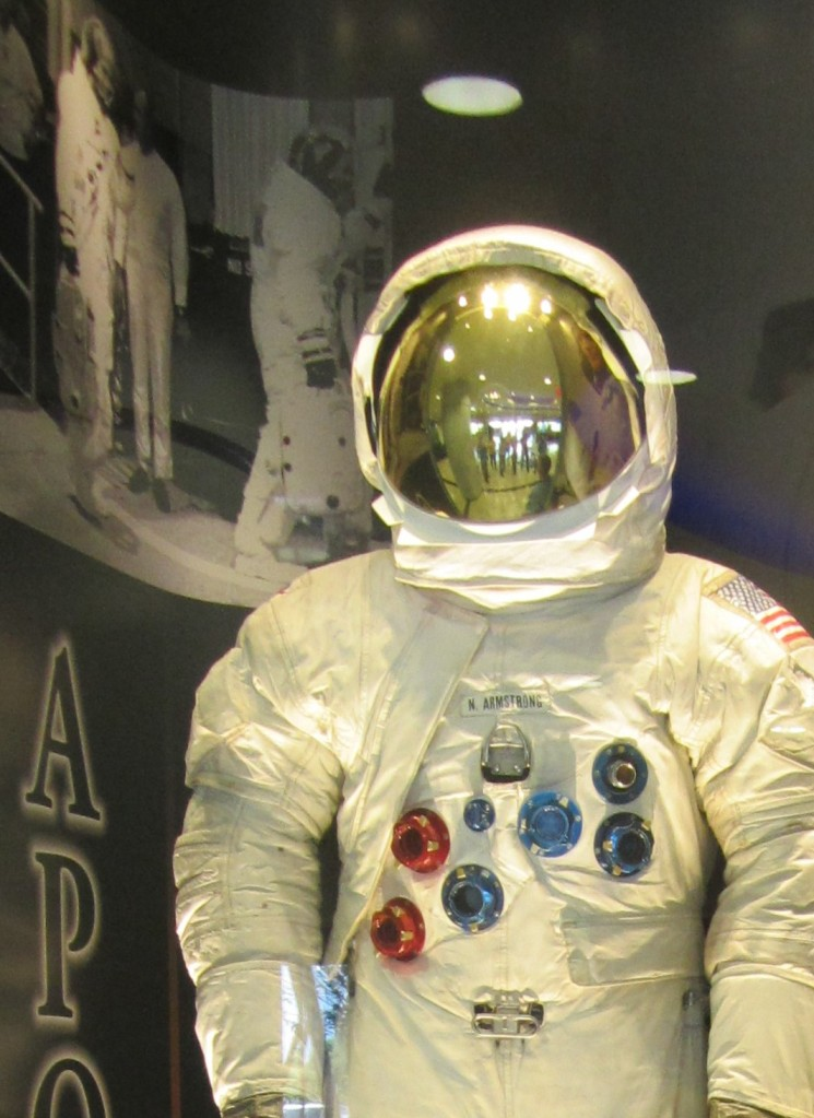 Picture of a spacesuit in the lobby of the Kennedy Space Center Operations and Checkout building. A picture I took some years ago.
