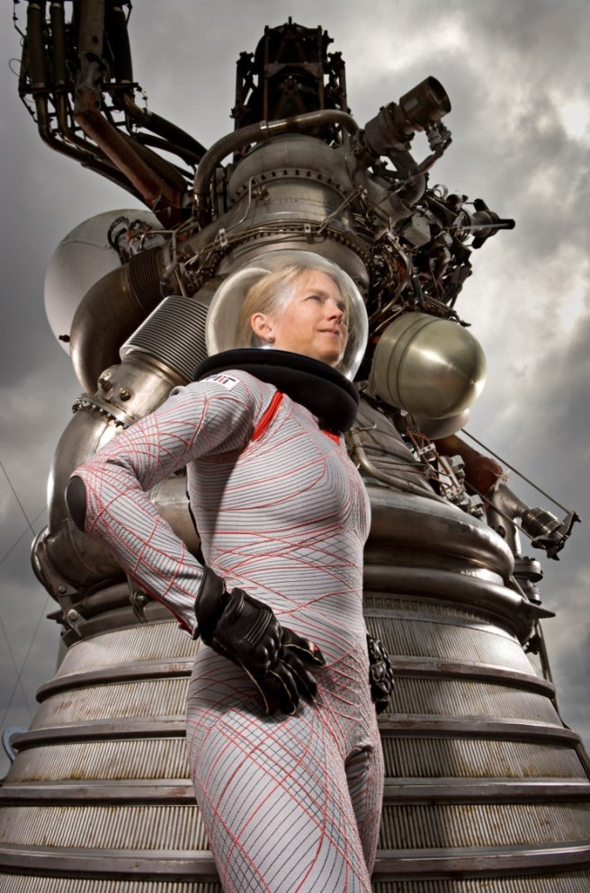 """Picture of Dava Newman in an advanced spacesuit. Building the Future Spacesuit: """"Thanks to some funding from the NASA Institute for Advanced Concepts, we were able to gather a team to begin the practical work that would test our hypothesis. Students have been part of the core team from the beginning."""""""