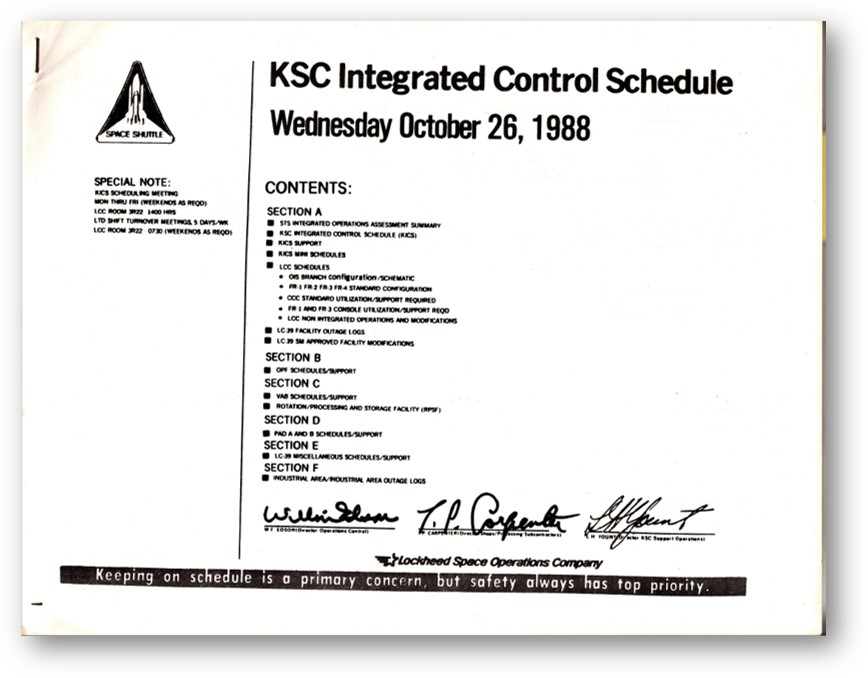 """The front cover of the schedule from a few days after I first reported for work at NASA Kennedy Space Center. It was called the """"KICS"""" for Kennedy Integrated Control Schedule."""